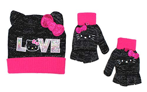Berkshire Girls' Hello Kitty 2 Pc. Heidi Hat and Adjustable Gloves Set One Size, LOVE Black -