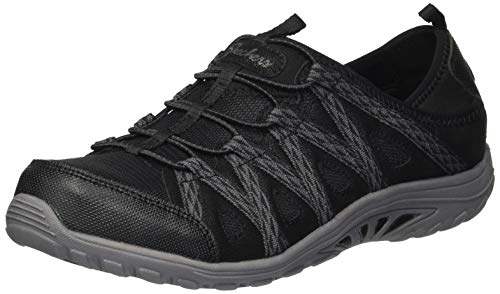 Skechers Women's Easy Going-Tribune-Double Zipper Bungee Bootie with Air-Cooled Memory Foam Sneaker, Black, 11 M US