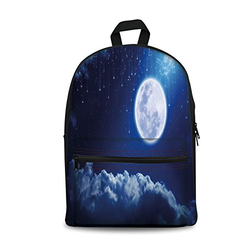 (Design the fashion fo Kids Back to School Backpack, Canvas Book Bag,Moon,Full Moon Mysterious Falling Stars Heavens Lovely Clouds Elements of Universe,Indigo Blue White.)