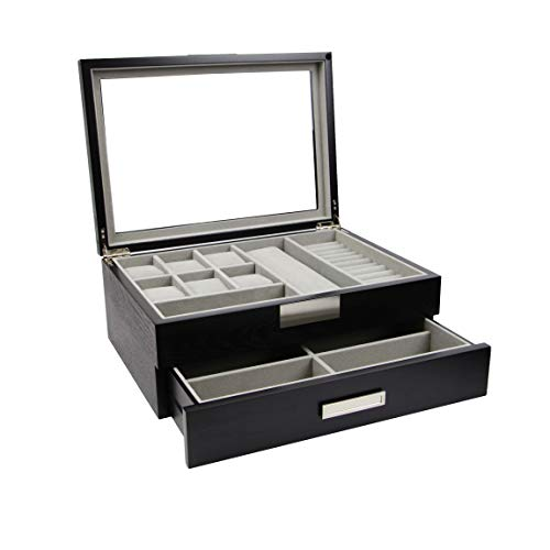 DecoreBay Executive Unisex Black Wood Valet sunglasses and Jewelry Box Storage (Super Star)