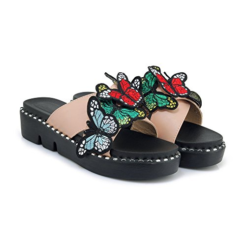 Mujeres Las Flop amp;s Chunky Mei Pink Toe Peep Flip Talón Casual qEawUS