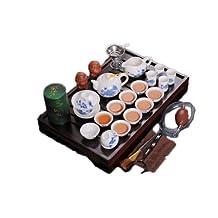 Hot sale Ordovician tea set yixing ceramic kungfu tea set 27pcs solid wood tea tray kungfu tea set (Set C)