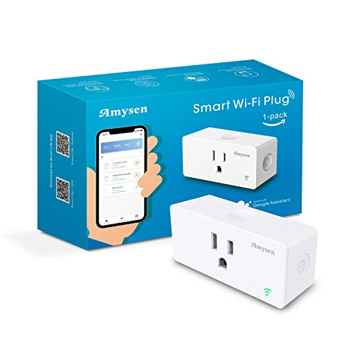 Amysen Wifi Smart Plug, Smart Outlet Mini Socket No Hub Required, Control Your Devices from Anywhere Compatible with Alexa and Google Assistant, White Plug