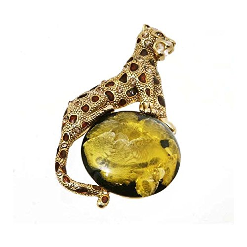 'Spotted Mythical Panther' Simulated Golden Jasper Animal Brooch, Panther Pin With Circus Ball, 1.5