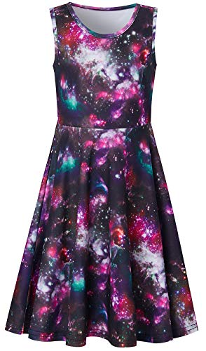 Space Sundresses for Small Kids Age 6 7 8 Years Hawaiian Print Red Dark Blue Purple Orange Black Nebula Galaxy Ruffles Round Neck Knee Length Fairy Dressy Frocks in Graduation -