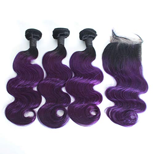 Forawme Brazilian Virgin Ombre Hair Bundles with Closures 4pcs Lot Body Wave 12 14 16 With 10 Inch 1B/Purple Closure With Weaves Hair