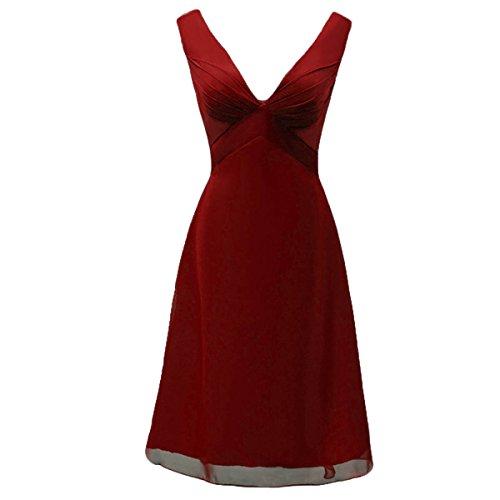 Dobelove Mère V-cou Des Femmes De La Robe De Demoiselle D'honneur Rouge Foncé