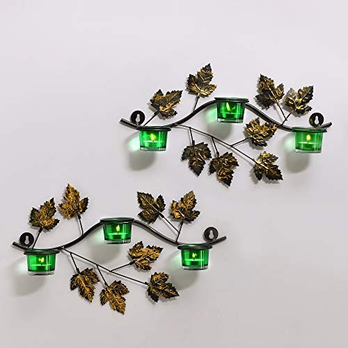 (tecmac Maple Leaf Wall Mount with 3 Votive Green, Wall Candle Holder and Free Tealight Candles)