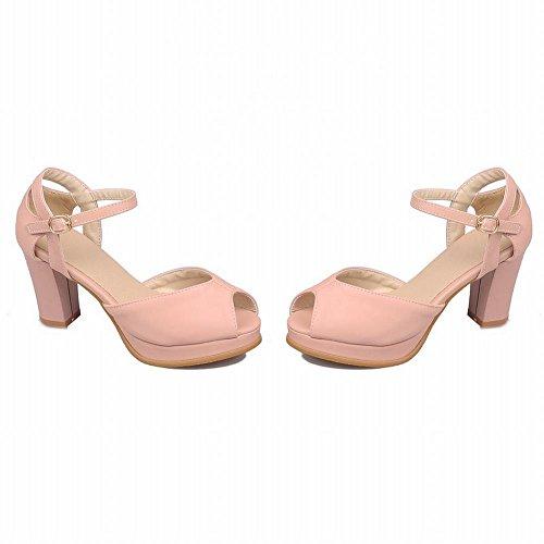 Carol Schoenen Chique Vrouwen Gesp Peep-toe Genade Mode Elegantie Platform Dikke Hoge Hak Sandalen Roze