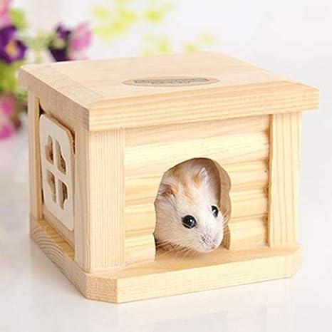 Lanbinxiang@ Encantadora Bastante Hermosa Moda Cómoda Mascota Techo Plano Casa de Madera Caseta de Mascotas Jaula para pequeños Animales Conejo Hámster ...