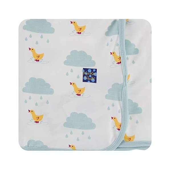 KicKee Pants Print Swaddling Blanket (One Size, Natural Puddle Duck)