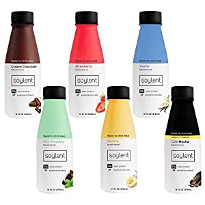 Soylent Sampler Pack Plant Protein Meal Replacement Shake, 14 fl oz, 6 Bottles, 1 of each Creamy Chocolate, Strawberry…