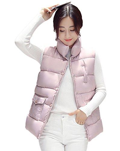 Solido Cappotto Donne Giacca Colletto Colore Alla Delle Rosa Puffer Coreana Maglia Senza Maniche Di Yiiquan Gilet Inverno qvawCvX