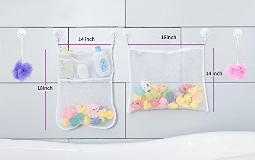 Amazon.com: 2 X Mesh Bath Toy Organizer + 6 Ultra Strong Hooks U2013 The  Perfect Net For Bathtub Toys U0026 Bathroom Storage U2013 These Multi Use Organizer  Bags Make ...