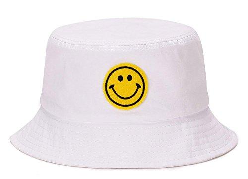 (Roffatide Unisex Cotton Wide Brim Bucket Hat Smile Face Pattern Funky Outdoor Fishing Hat Cap White)