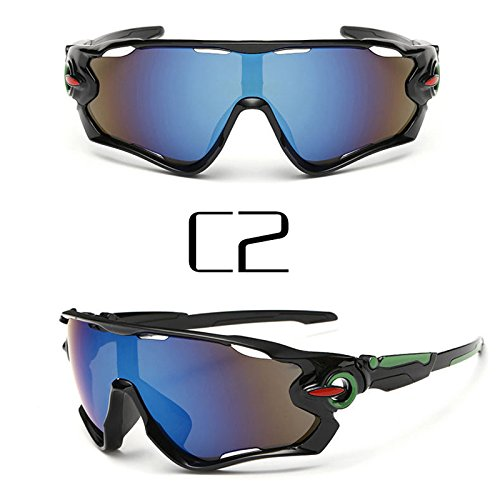 Polarized cycling sunglasse - Sports cycling glasses - Reflective Sports Men Sunglasses Road Cycling Glasses Bike Goggles Outdoor Sports Bicycle Sunglasses UV400 #85635 (Black - Best Sunglasses Bike Road