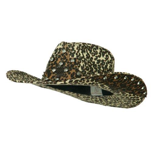 [Star Detail Paper Straw Cowboy Hat - Leopard S-M] (Leopard Cowboy Hat)