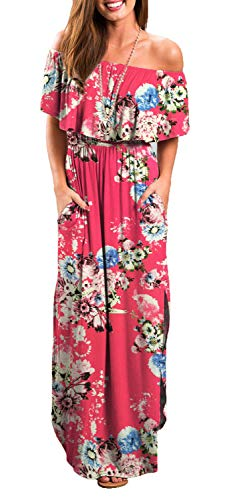 Othyroce Womens Off Shoulder Floral Casual Print Summer Maxi Dresses Rose L