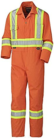 Pioneer Men CSA Work Coverall - Easy Boot Access, High Visibility, Orange