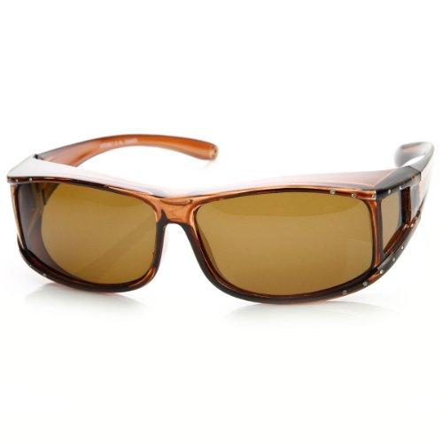 zeroUV - Womens Rectangle Polarized Lens Cover Wrap Sunglasses with Side Lens - Side Sunglasses Lens
