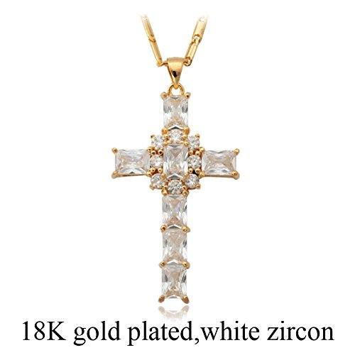 U7 Cubic Zirconia Necklace Chain 22 Inch 18K Gold/Platinum Plated Crystal Cross Pendant for Women/Girls (White-Gold) -