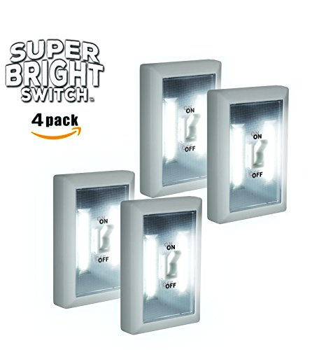 Super Bright Switch: 4 Pack Wireless Peel And Stick LED