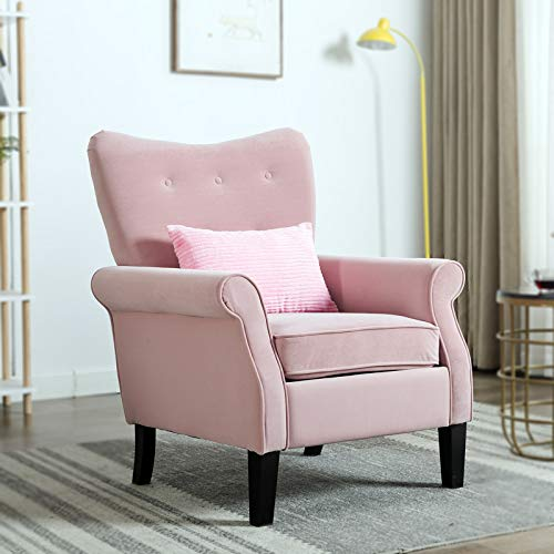 Artechworks Velvet Arm Chair Moden Accent Chair Living Room Furniture,Pink Color
