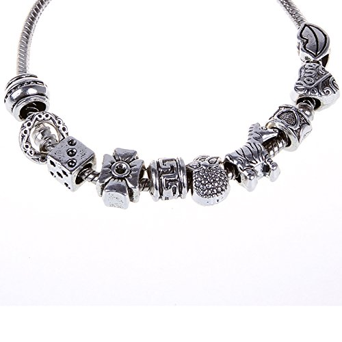 RUBYCA 50pcs Bulk Tibetan Silver Color Loose Charm Beads and 1pcs European Charm Bracelet 8.3 Inch (Tibet Snake Silver)