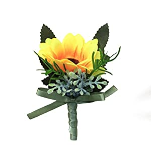 MOJUN Groom Wedding Flower Boutonniere Simulation Sunflower 7