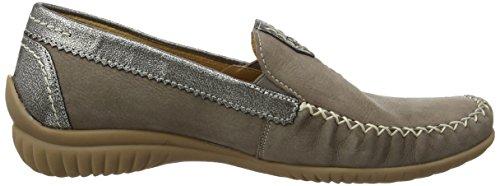 Gabor California, Mocassins (Loafers) Femme Gris (Grey Nubuck/Grey Metallic Leather)