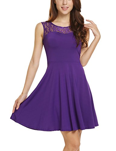 ANGVNS Women's Sleeveless Lace Stitching A Line Short Mini Casual Dress Purple (Juniors Skater Dress)