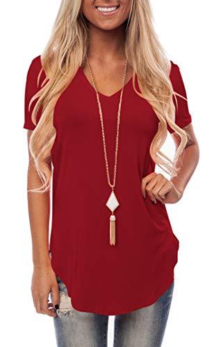 Ladies Loose Short Sleeve V Neck Tee Shirt Lightweight Blouse Top Burgundy L