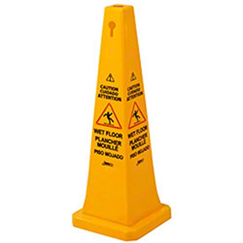 (Janico 1072 Wet Floor Cone Public Safety Caution Cone, 4 Sided Caution Wet Floor Imprint, Multi Lingual, 36 Inch High, 12 Inch Base, Yellow)