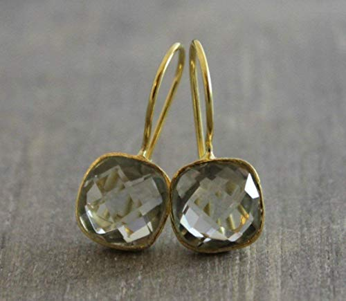 (Cushion Cut Green Amethyst Gold Plated Earrings July Special Reg. Price 39.99)