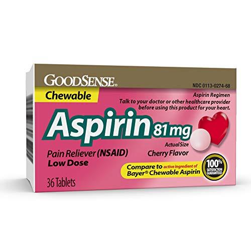 GoodSense Aspirin Pain Reliever 81 mg Cherry Flavored Chewable, 36-count (Aspirin Cherry)