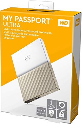 WD 1TB My Passport Ultra Portable External Hard Drive - USB 3.0 - White-Gold - WDBTLG0010BGD-WESN (Old Generation) - Drive Disk White Hard Hard
