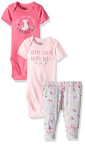 Gerber Girl - Gerber Baby Girls 3-Piece Onesies Bodysuits and Pant Set, Happy Earth, 3-6 Months