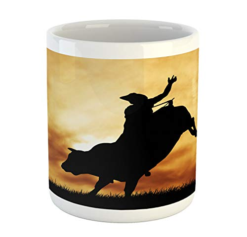 Lunarable Western Mug, Bull Rider Silhouette at Sunset Dramatic Sky Rural Countryside Landscape Rodeo, Printed Ceramic Coffee Mug Water Tea Drinks Cup, Amber Black