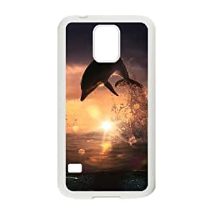 Beautiful Hard Protective Back Cover Case for SamSung Galaxy S5 I9600 - Dolphins Marine Animal CM10L4883