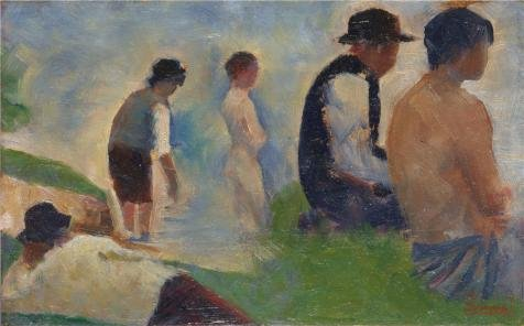 Oil Painting 'Georges Seurat - Study For 'Bathers At Asnieres',1883-4' Printing On High Quality Polyster Canvas , 30x48 Inch / 76x123 Cm ,the Best Basement Decor And Home Decor And Gifts Is This High Quality Art Decorative Canvas Prints