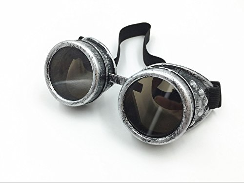 New Sell Vintage Steampunk Goggles Glasses Welding Cyber Punk Gothic(Antique Silver)