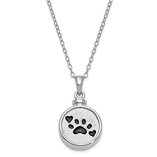 925 Sterling Silver Enameled Paw Print Ash Holder 18 Inch Chain Necklace Pendant Charm Animals/insect Inspirational Fine Jewelry Gifts For Women For Her