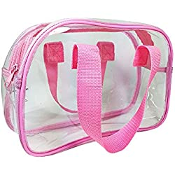 Clear Purse that is Event Stadium Approved. Clear Handbags for Cosmetics, Makeup, and Travel. Clear Bag Made of Transparent Plastic (Pink)