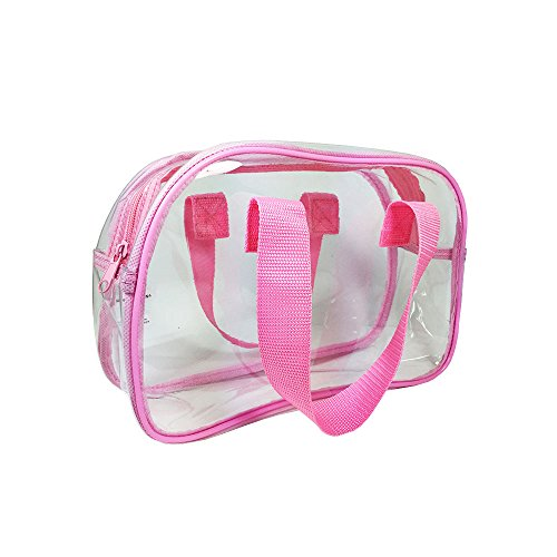 (Clear Purse that is Event Stadium Approved. Clear Handbags for Cosmetics, Makeup, and Travel. Clear Bag Made of Transparent Plastic (Pink))
