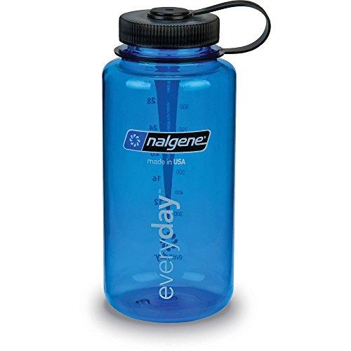 Nalgene Tritan Wide Mouth BPA-Free Water Bottle, 32 Oz, Blue with Black