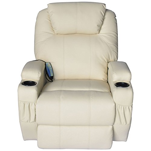 Leg Recliner Leather (HomCom Faux Leather Heated Vibrating Recliner Chair with Remote - Cream White)