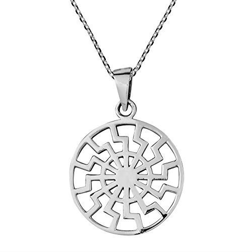 (AeraVida Supreme Sun Wheel .925 Sterling Silver Pendant Necklace)