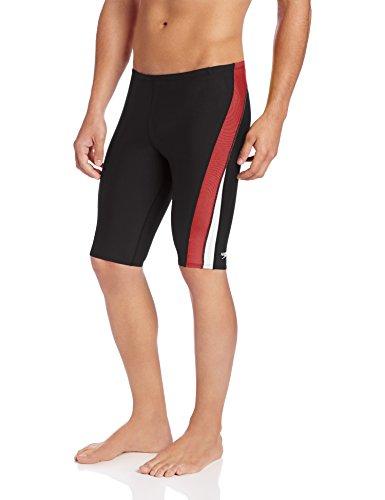 Speedo Men's Endurance+ Launch Splice Jammer Swimsuit, Black/Maroon, - Black Swimsuit Mens