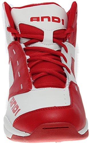 AND1 Taifun Basketballschuh für Männer Hellweiß / F1 Rot / Hellweiß