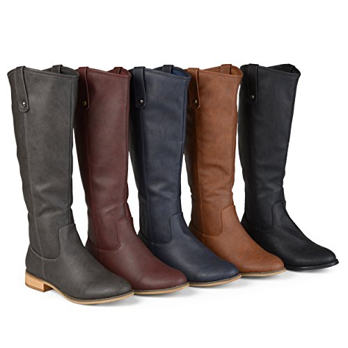 Brinley Co. Womens Faux Leather Regular, Wide Extra Wide Calf Mid-Calf Round Toe Boots